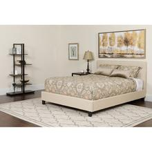 Chelsea King Size Upholstered Platform Bed in Beige Fabric with Memory Foam Mattress