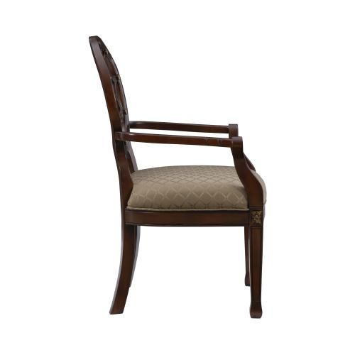 Upholstered Seat and Web Back Accent Chair, Medium Mahogany
