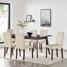 Prosper 7 Piece Upholstered Fabric Dining Set in Cappuccino Beige