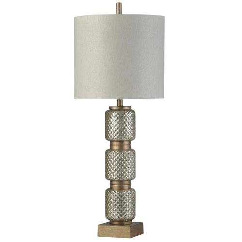 Product Image - Brighton  Traditional  Glass and Resin Table Lamp  150W  3-Way  Hardback Shade