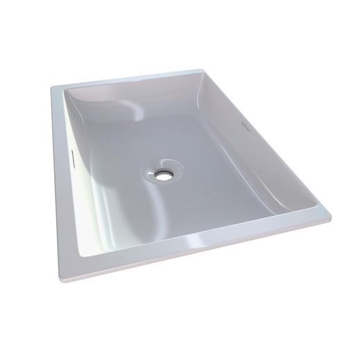 Kaldera 62 Rectangular 24 Inch Undermount Lavatory Sink in Volcanic Limestone™ with Internal Overflow - Gloss White