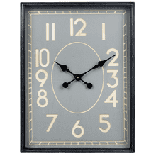 Carved Grey Wall Clock with Black Frame