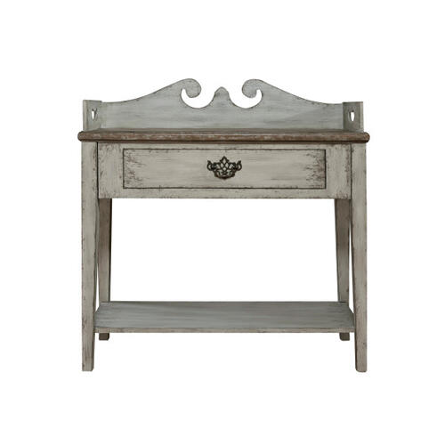 Colonial Accent Table with Gallery Top in Harbor Grey