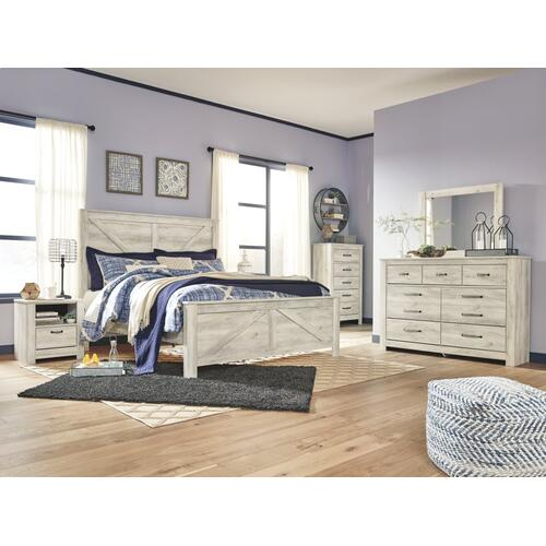 King Crossbuck Panel Bed With Mirrored Dresser, Chest and Nightstand