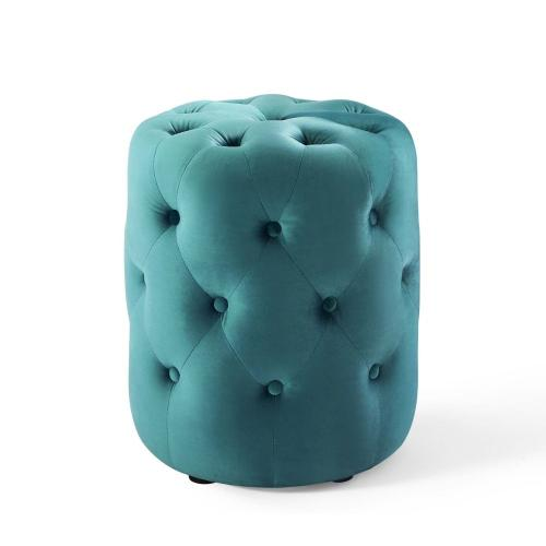 Amour Tufted Button Round Performance Velvet Ottoman in Sea Blue