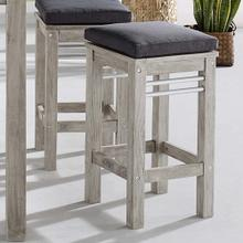 Wiscasset Outdoor Patio Acacia Wood Bar Stool in Light Gray