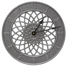 """Spiral 14"""" Indoor Outdoor Wall Clock - Pewter/Silver"""