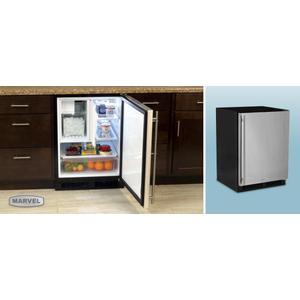 "FLOOR DISPLAY- MARVEL 24"" Refrigerator Freezer with Drawer Storage - Solid Stainless Steel Door - Left Hinge"