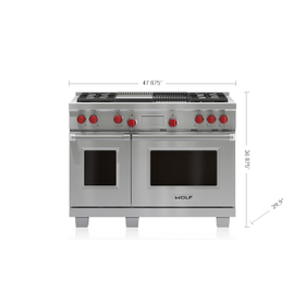 "Legacy Model - 48"" Dual Fuel Range - 4 Burners, Infrared Charbroiler and Infrared Griddle"