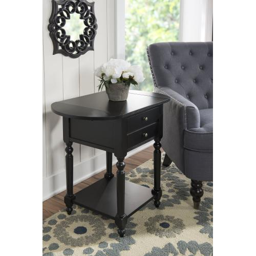 1-drawer and 1-shelf Table With Dropleaf, Black