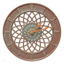 "Spiral 14"" Indoor Outdoor Wall Clock - Copper Vedigris"