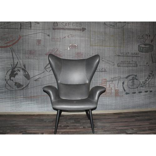 Divani Casa Slater Modern Dark Grey Leatherette Lounge Chair
