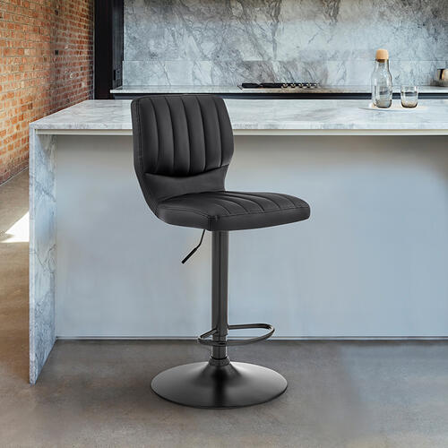 Armen Living - Bardot Adjustable Swivel Bar Stool in Matte Black with Black Faux Leather