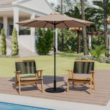 See Details - Tan 9 FT Round Umbrella with Crank and Tilt Function and Standing Umbrella Base