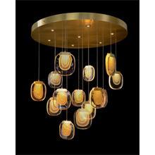 Bansho: Twenty-One Light Layered Glass Drop Pendant Chandelier