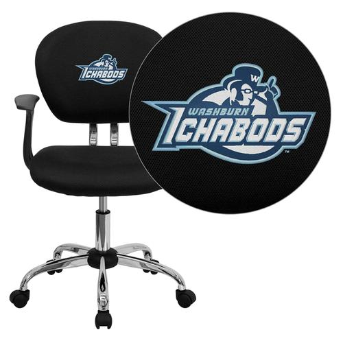Washburn University Ichabods Embroidered Black Mesh Task Chair with Arms and Chrome Base