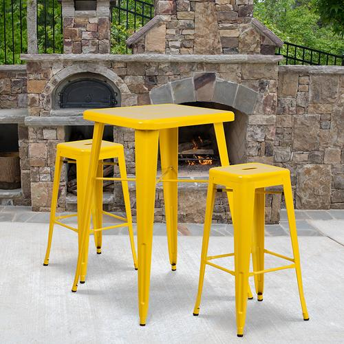 """Product Image - Commercial Grade 23.75"""" Square Yellow Metal Indoor-Outdoor Bar Table Set with 2 Square Seat Backless Stools"""
