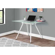 "COMPUTER DESK - 28""X 48"" / WHITE / 8MM TEMPERED GLASS"