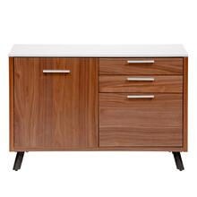 Hugo 3 Drawer and 1 Door File Unit With White Top With American Walnut Frame