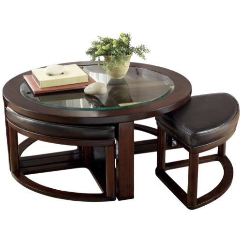 5 PIECE SET (COFFEE TABLE AND 4 STOOLS)