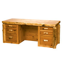 Executive Desk - Natural Cedar - Liquid Glass