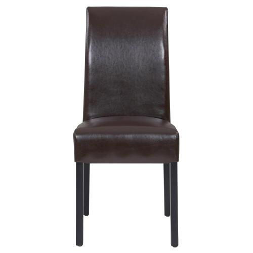 Valencia Leather Dining Side Chair, Brown