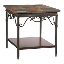 Elway Home Stone/Metal Rect End Table