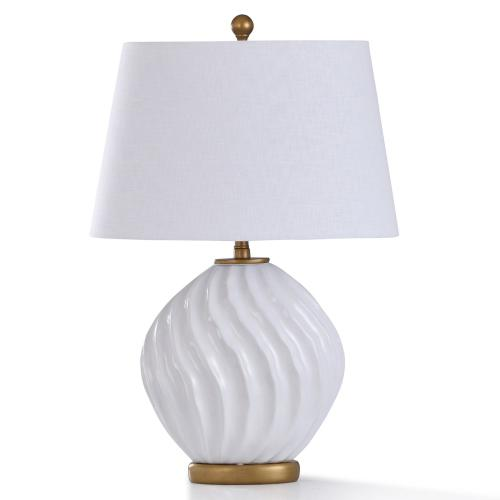 NORFORD TABLE LAMP  29in ht.  William Mangum Ceramic White Swirl Body Table Lamp with Antique Gold
