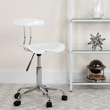 View Product - Vibrant White and Chrome Swivel Task Office Chair with Tractor Seat