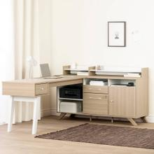L-Shaped Desk with Power Bar and Removable Hutch - Soft Elm and Pure White