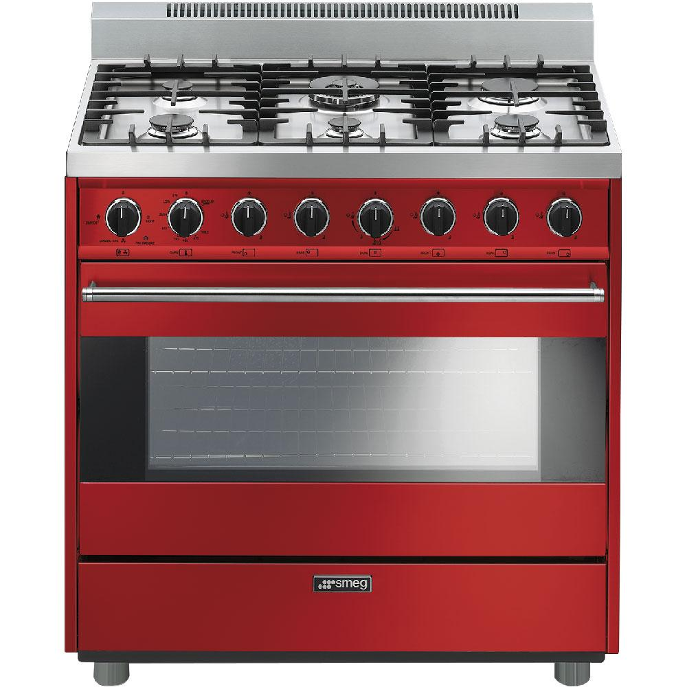 "SmegFree-Standing Gas Range, 36"", Red"