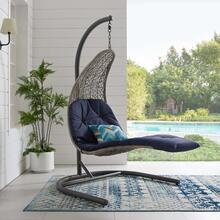 Landscape Hanging Chaise Lounge Outdoor Patio Swing Chair in Light Gray Navy