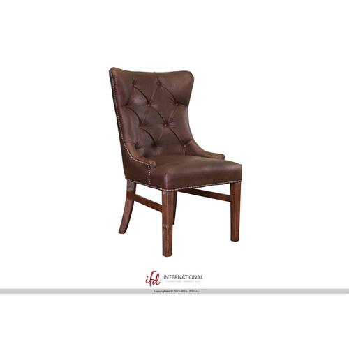 Brown Fabric chair with tufted back**