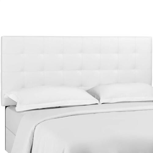 Paisley Tufted Twin Upholstered Faux Leather Headboard in White