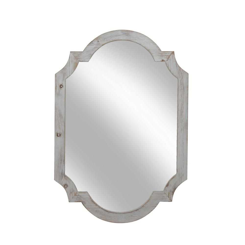 """See Details - Wood Frame Wall Mirror, 44.5"""", Ivory Wb"""