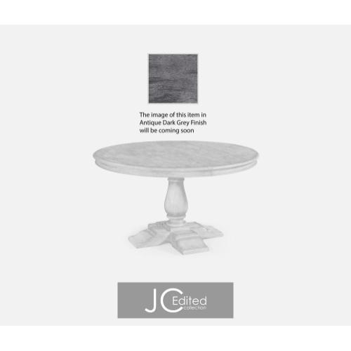 Round extending dining table in antique dark grey