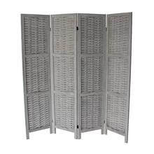 7045 GRAY Rustic Woven 4-Panel Room Divider