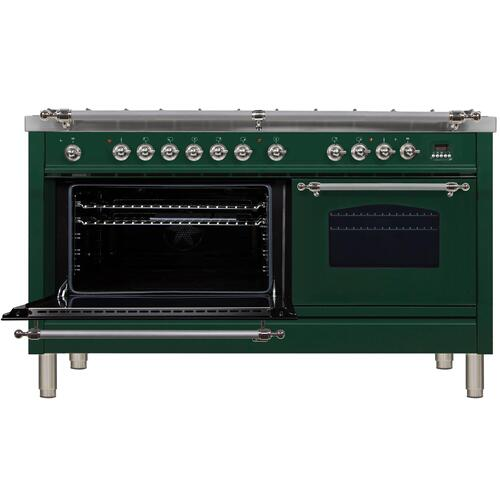 Nostalgie 60 Inch Dual Fuel Liquid Propane Freestanding Range in Emerald Green with Chrome Trim