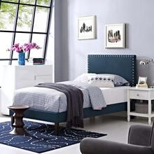 Macie Twin Fabric Platform Bed with Squared Tapered Legs in Azure