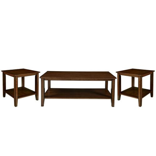 Pendwood 3-Pack Accent Tables with Casters, Brown Cherry