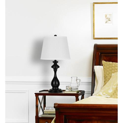 Cal Lighting & Accessories - 150W 3 Way Metal Table Lamp With Softback Fabric Shade. Sold And Packed As Pairs