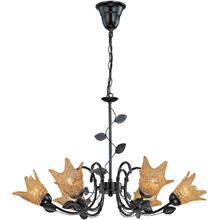6-lite Ceiling Lamp, Dark Bronze/glass Shade, E12 G 60wx6