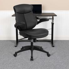 See Details - Mid-Back Black LeatherSoft Executive Swivel Ergonomic Office Chair with Back Angle Adjustment and Flip-Up Arms