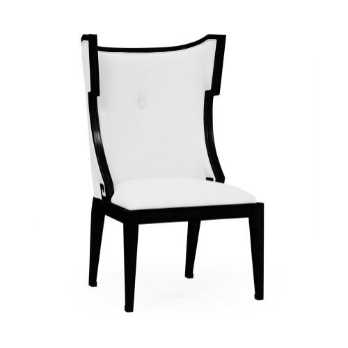 Greek Key Design Biedermeier Black Side Chair - COM