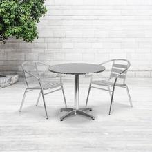 See Details - 31.5'' Round Aluminum Indoor-Outdoor Table Set with 2 Slat Back Chairs