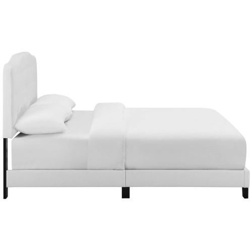 Amelia King Upholstered Fabric Bed in White
