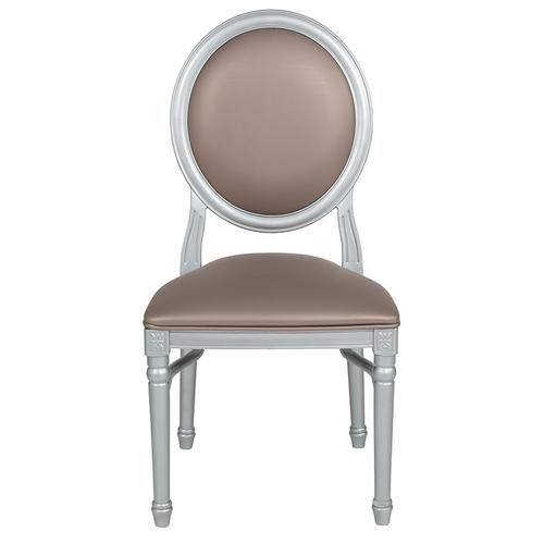 Flash Furniture - HERCULES Series 900 lb. Capacity King Louis Chair with Taupe Vinyl Back and Seat and Silver Frame