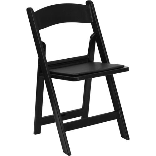 Flash Furniture - Hercules™ Folding Chair - Black Resin - 1000LB Weight Capacity Comfortable Event Chair - Light Weight Folding Chair