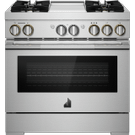 """36"""" RISE™ Dual-Fuel Professional-Style Range with Chrome-Infused Griddle, RISE Product Image"""