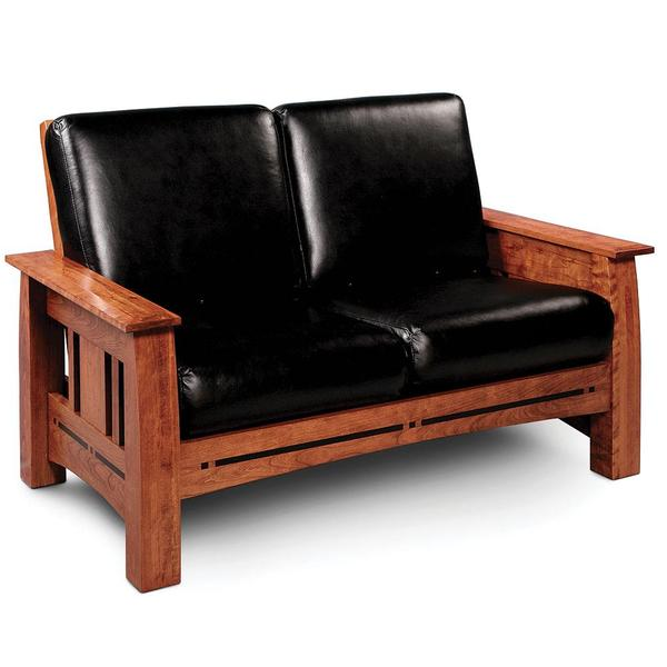 See Details - Aspen Loveseat with Inlay, Recliner / Fabric Cushions